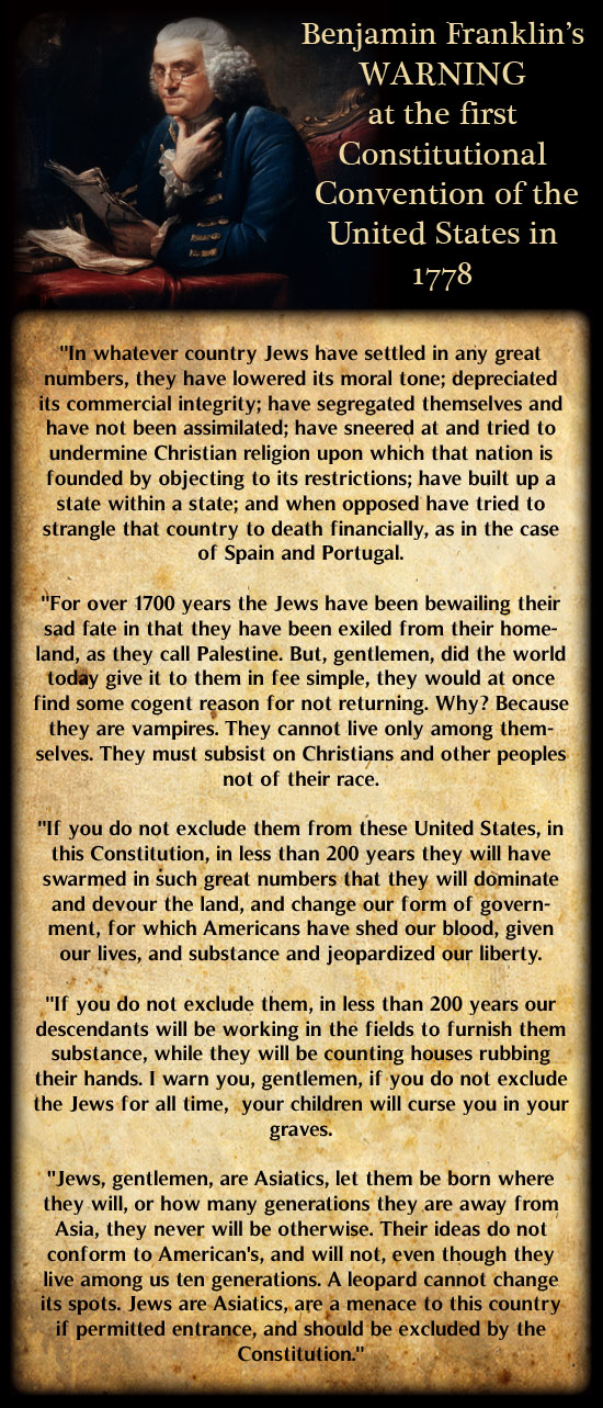 Ben Franklin's Warning About the Jews Being Permitted in the US