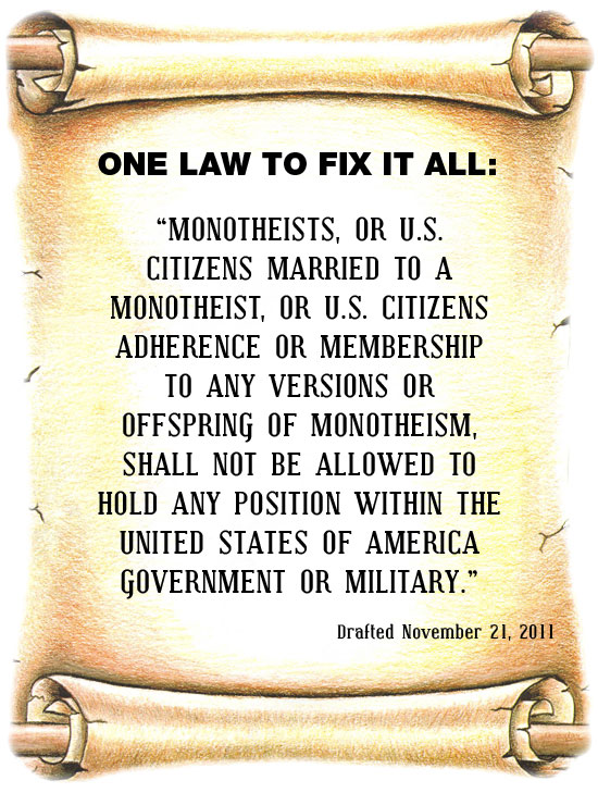 NO MONOTHEISM LAW